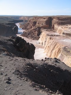 'Grand Falls' in Northern Arizona only runs a few weeks a year from snow melt.