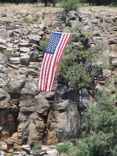 US Flag suspended over Sycamore Canyon, Fourth of July, 2008